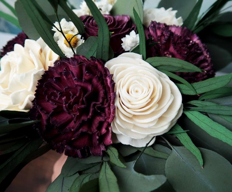 preserved eucalyptus vintage style long ribbons bridesmaid flowers burgundy wine ivory sola flowers Boho southwestern wedding bouquet