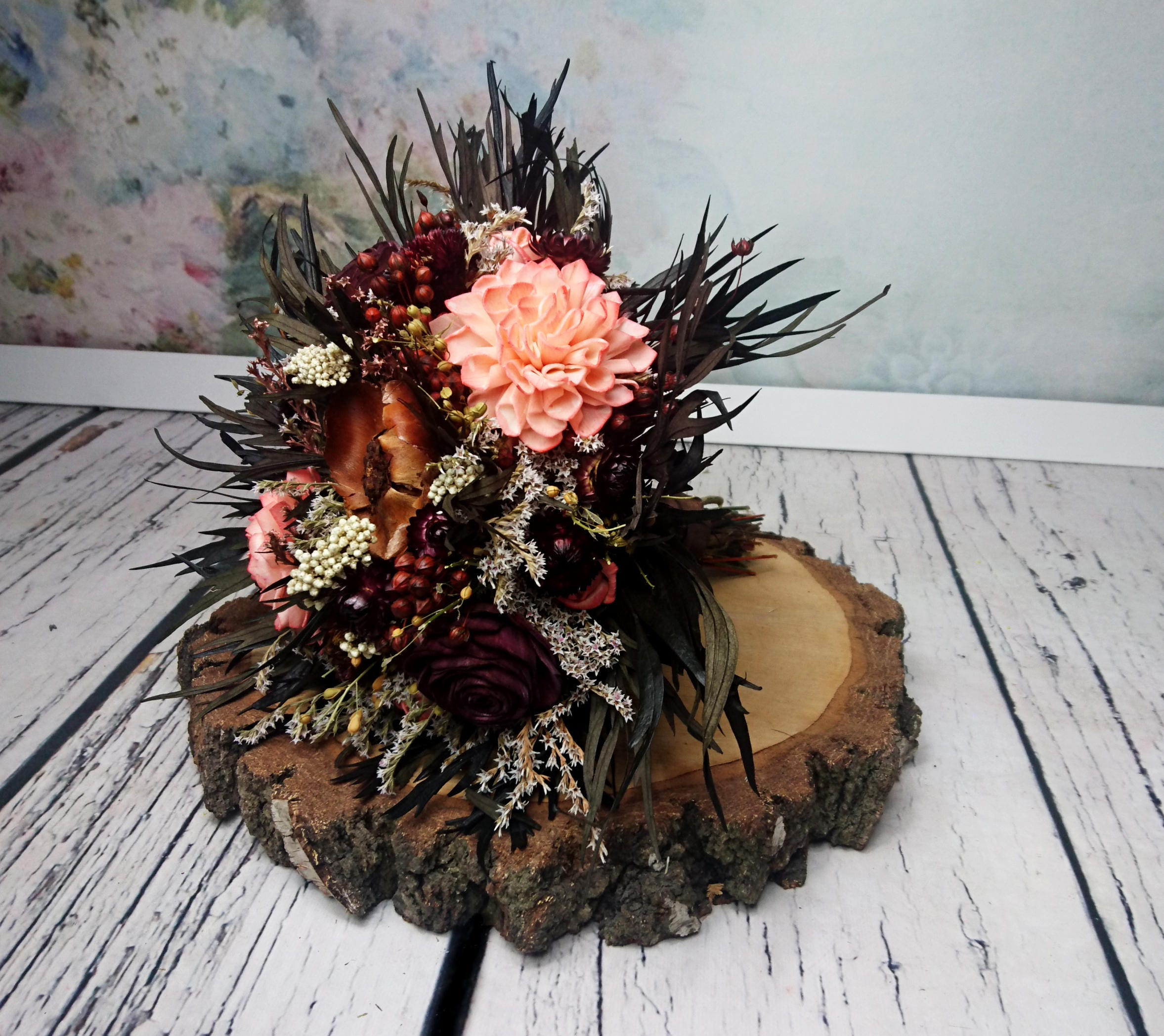Fall Sola Dried Flowers Wedding Bouquet Chocolate Brown Bridal ...