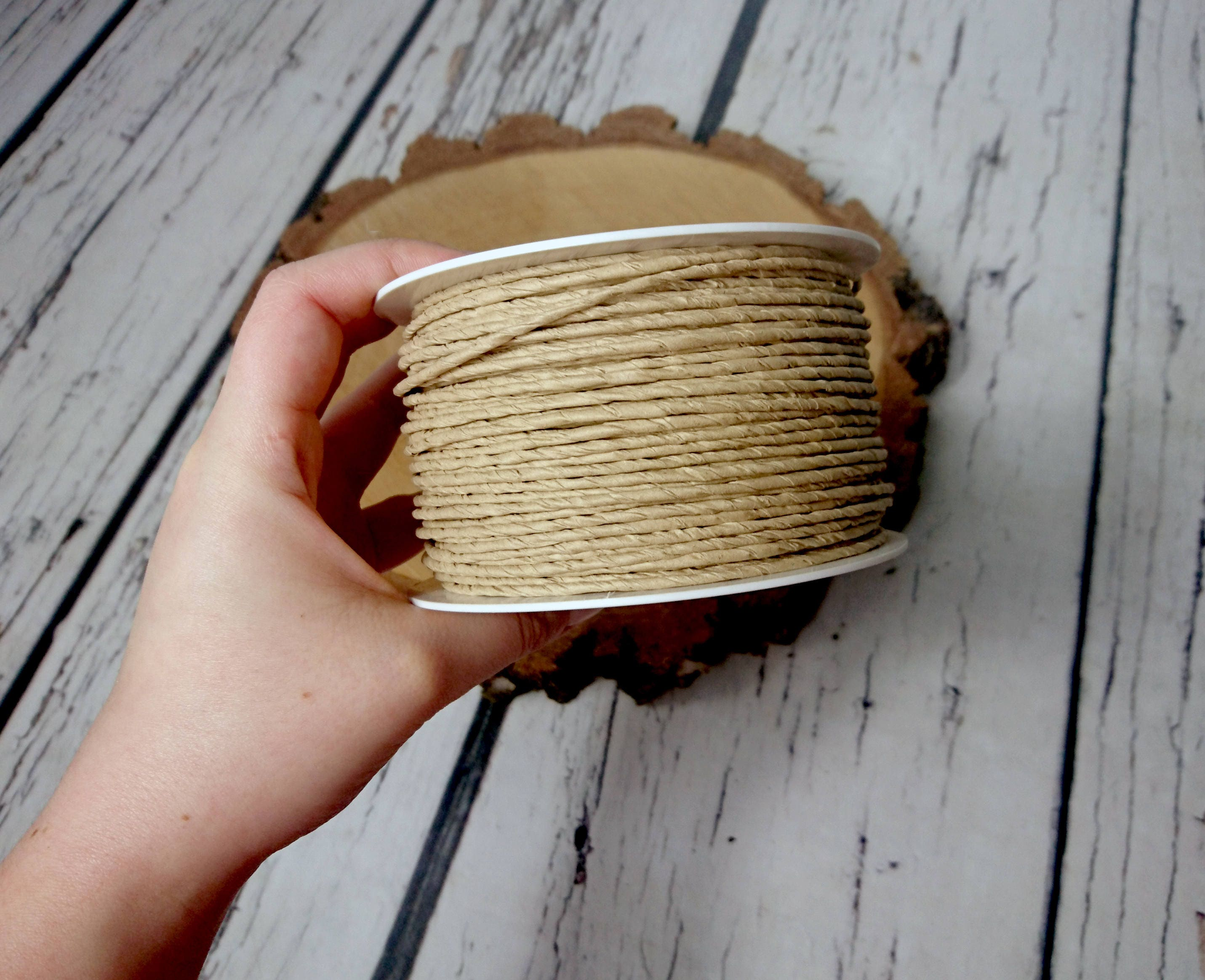 Paper covered rustic wire 100m 109yd natural beige light brown paper covered rustic wire 100m 109yd natural beige light brown flower crown wreath florist supply wedding flowers diy decor bouquet woodland izmirmasajfo