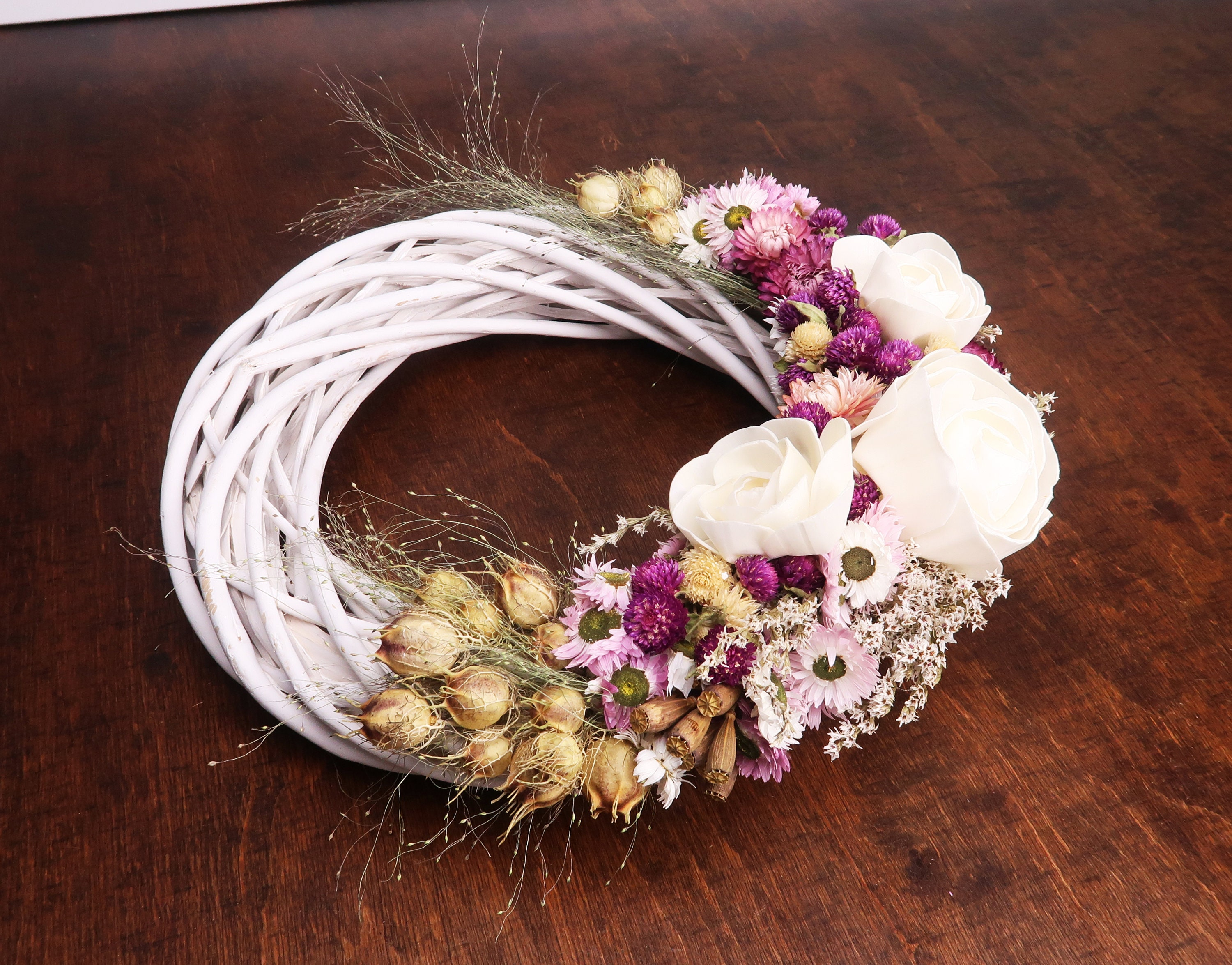 Rustic Dried Flowers White And Blush Pink Wreath