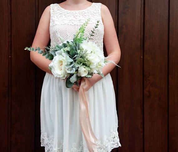 Best quality boho bouquet silk flowers dusty miller flocked mightylinksfo