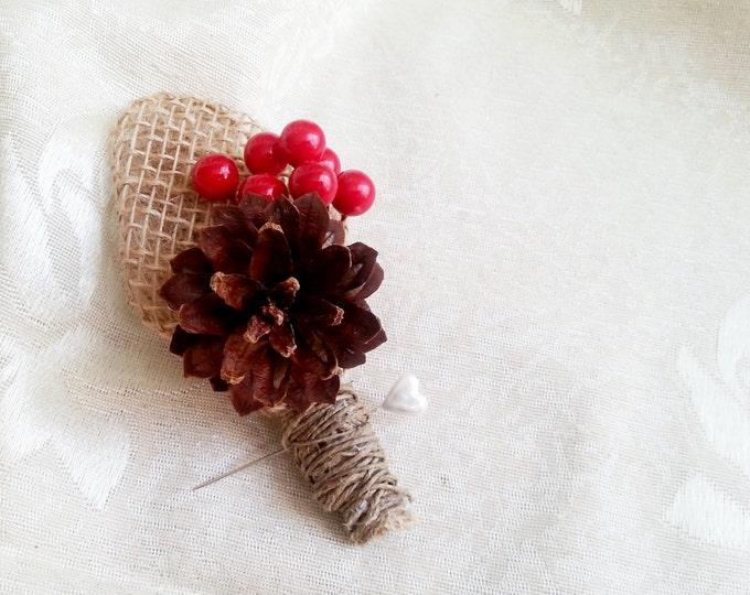 Winter wedding rustic wedding pine cone bulap red balls Boutonniere Groom and groomsmen, Wedding Flowers custom
