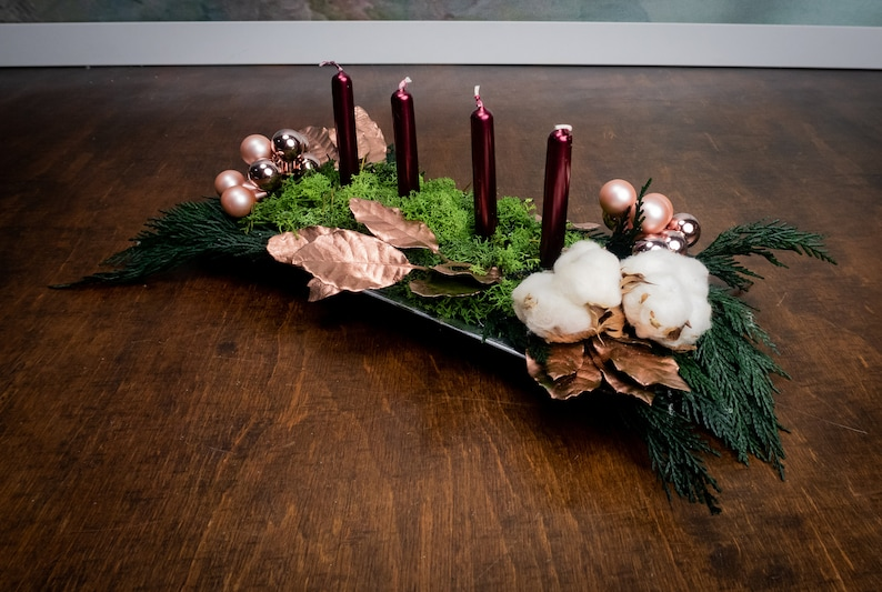 Fine Natural Winter Wedding Centerpiece Modern Christmas Table Decoration In Burgundy And Rose Gold Glass Ornaments Moss Floral Decor Download Free Architecture Designs Grimeyleaguecom