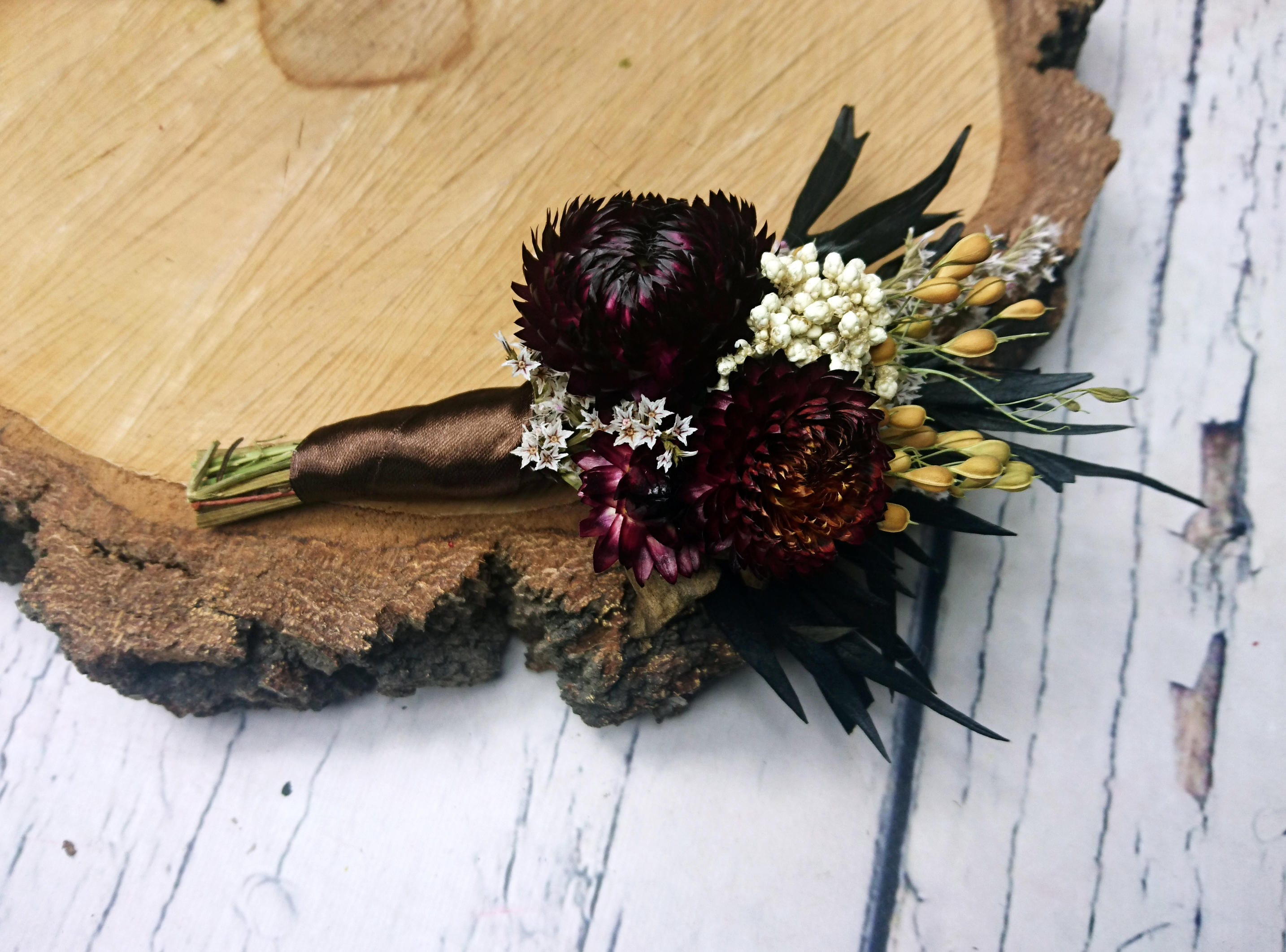 Dried flowers brown boutonniere rustic wedding sola Flower flax ...