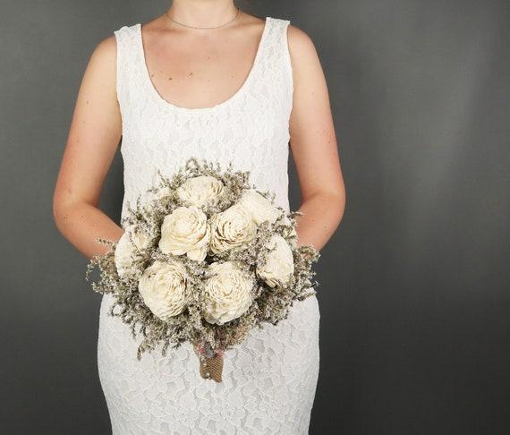 Dried wheat wedding bouquet burlap lace bridesmaid bridal bouquet rustic autumn fall harvest wedding ivory orange lavender sola flowers