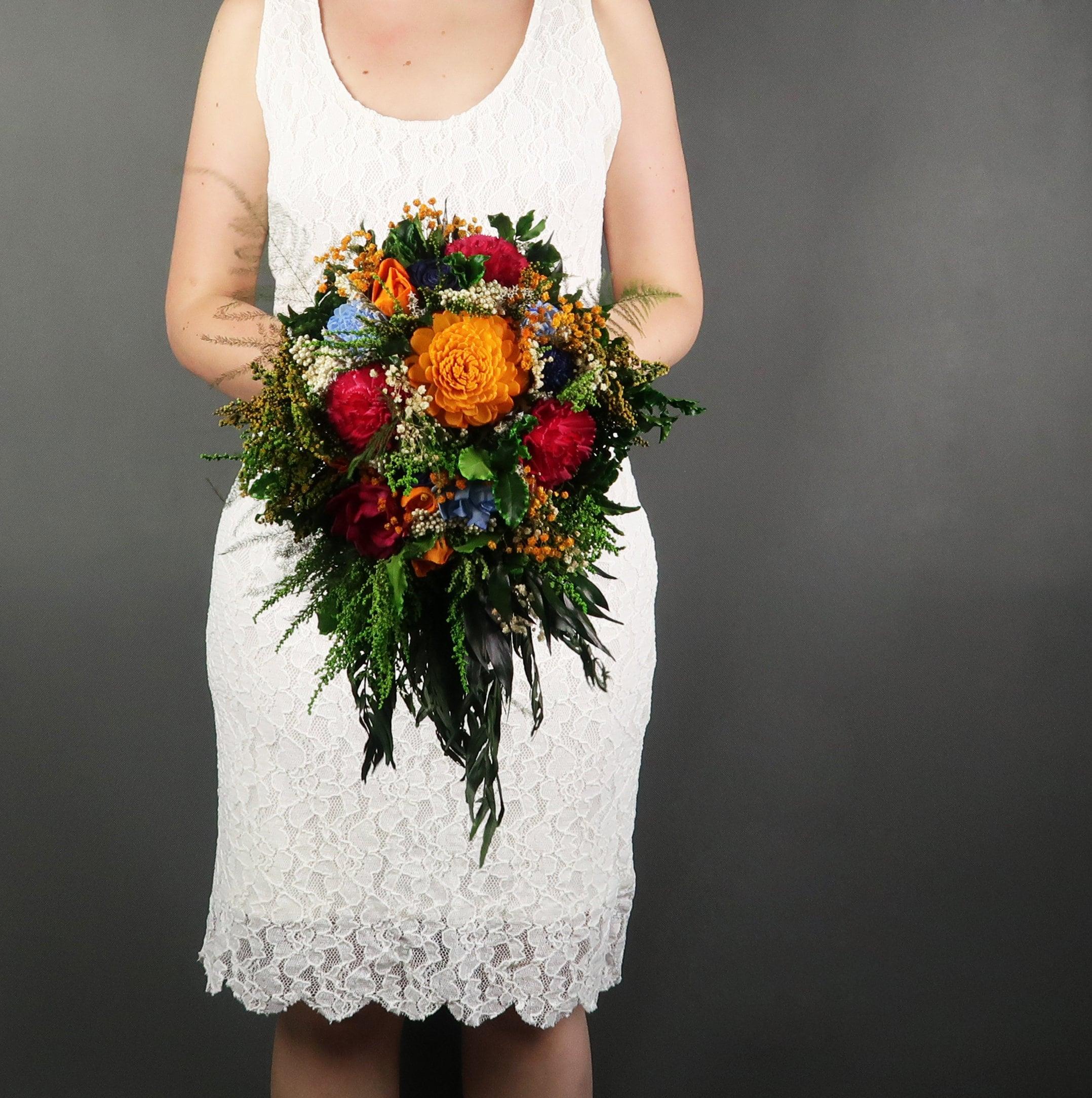 Teardrop Cascading Colorful Vibrant Wild Mexican Wedding Bouquet