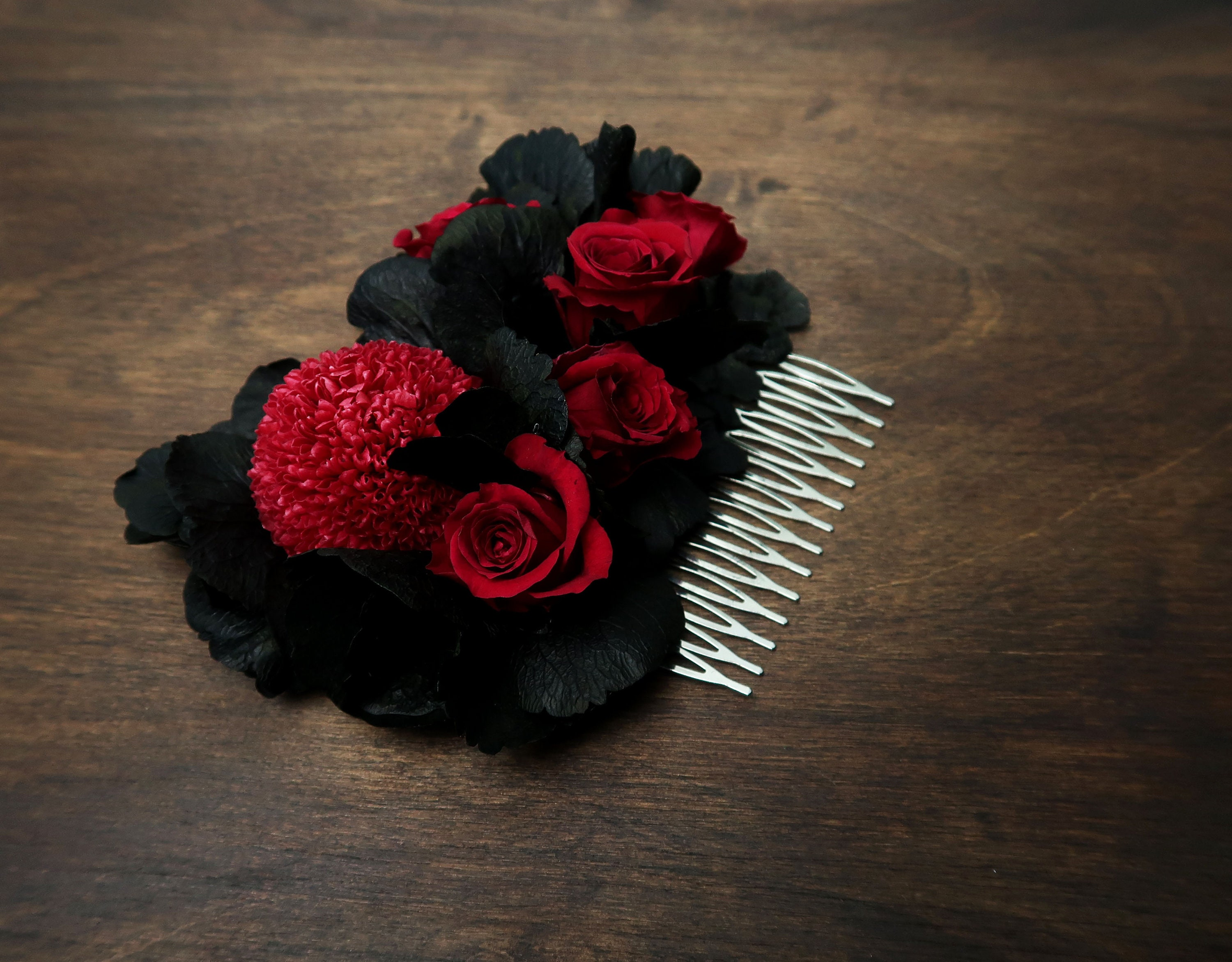deep red burgundy rose black hydrangea hair comb alternative bride