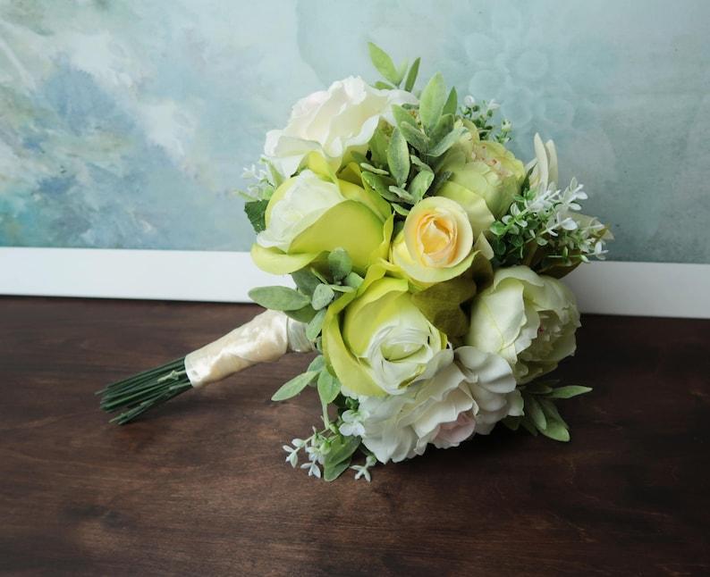 Green Flower Bridal Bouquet Realistic Silk Flowers Peony Etsy