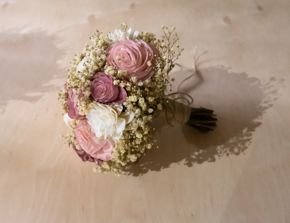 Medium blush pink bridal wedding bouquet natural gypsophila baby/'s breath preserved stabilized flowers sola flowers roses simple rustic
