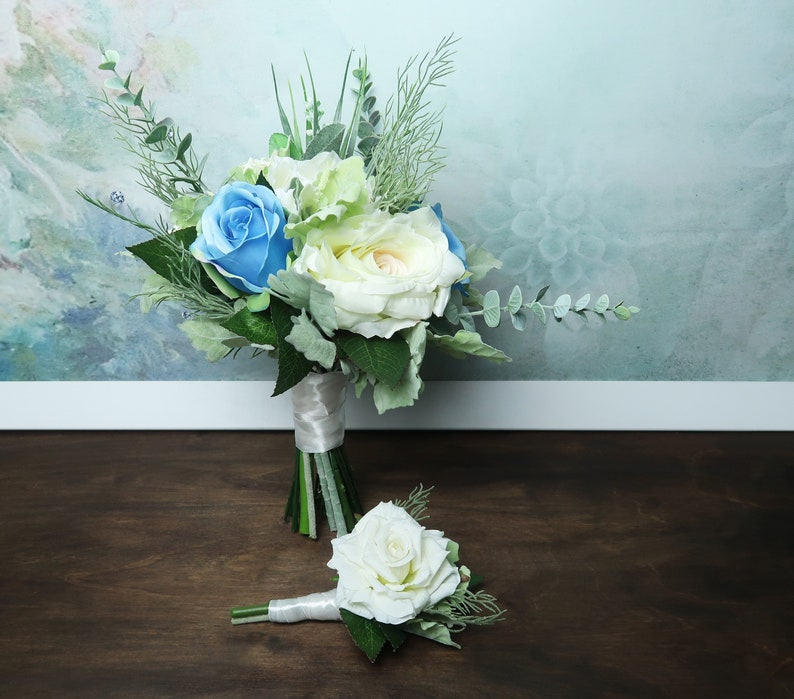 White rose wedding boutonniere realistic silk flowers single rose dusty miller flocked leafs greenery ivory simple elegant green natural