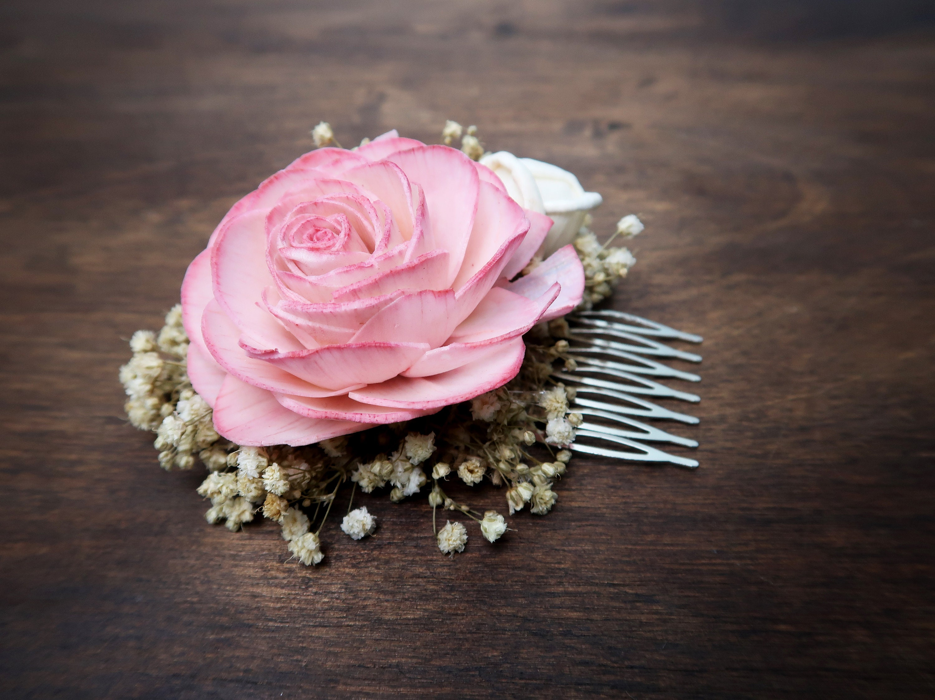 Blush pink rose preserved natural gypsophila hair comb rustic ...