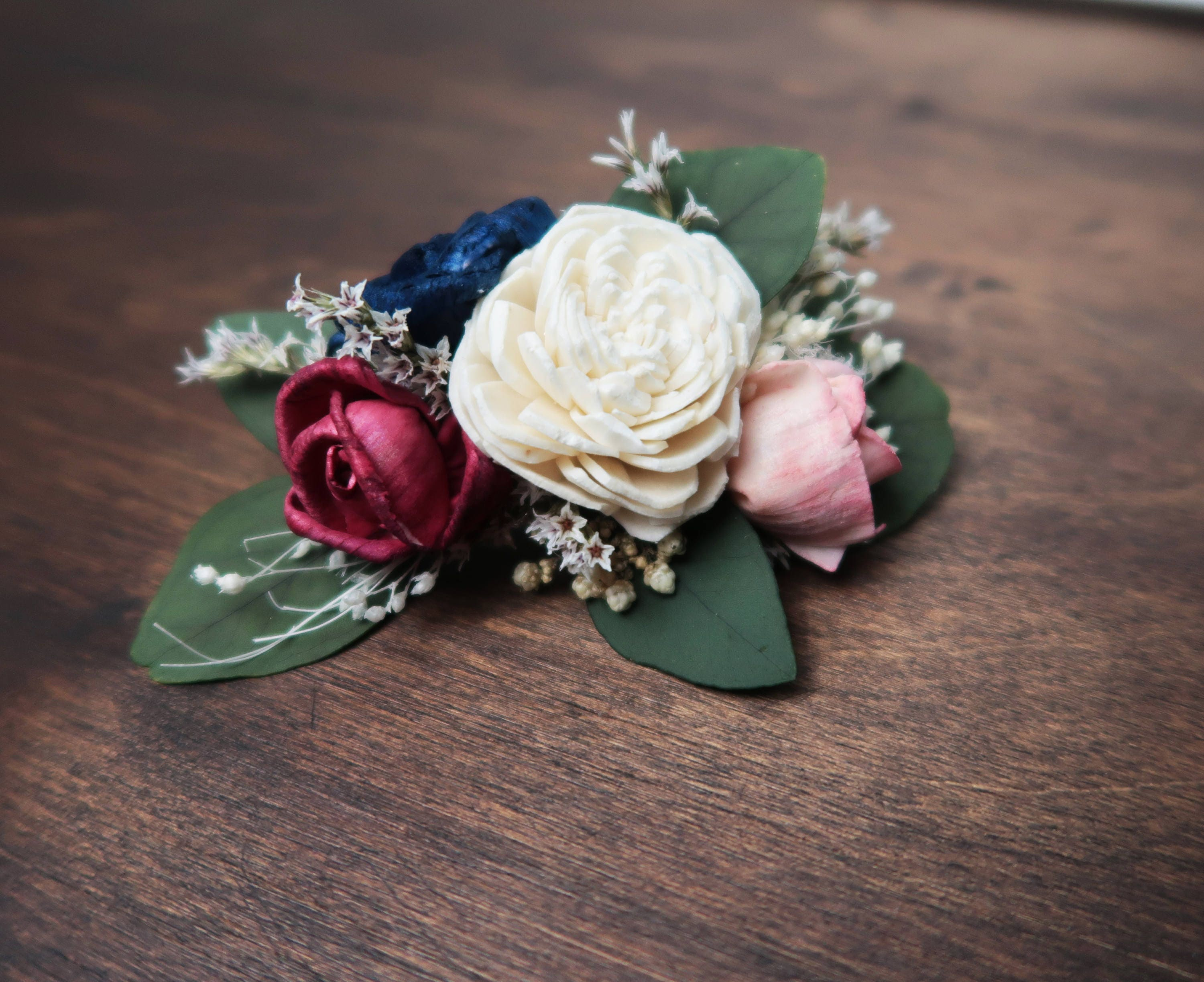Barrette hair clip blush pink navy blue ivory sola flowers preserved barrette hair clip blush pink navy blue ivory sola flowers preserved eucalyptus dried flowers wedding flower hairpiece perfect for updo izmirmasajfo