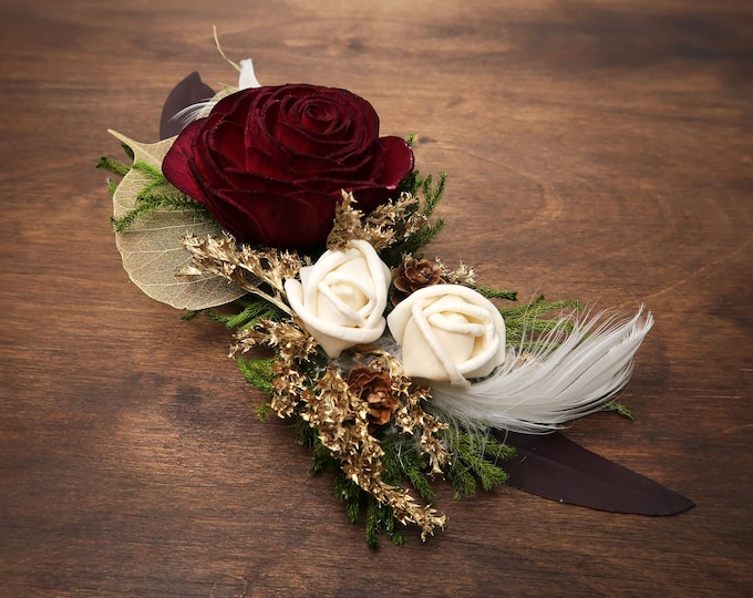 Hair clip burgundy red rose gold leafs greenery feathers medieval gothic cosplay alternative bride rustic woodland Sola Flower hairpiece