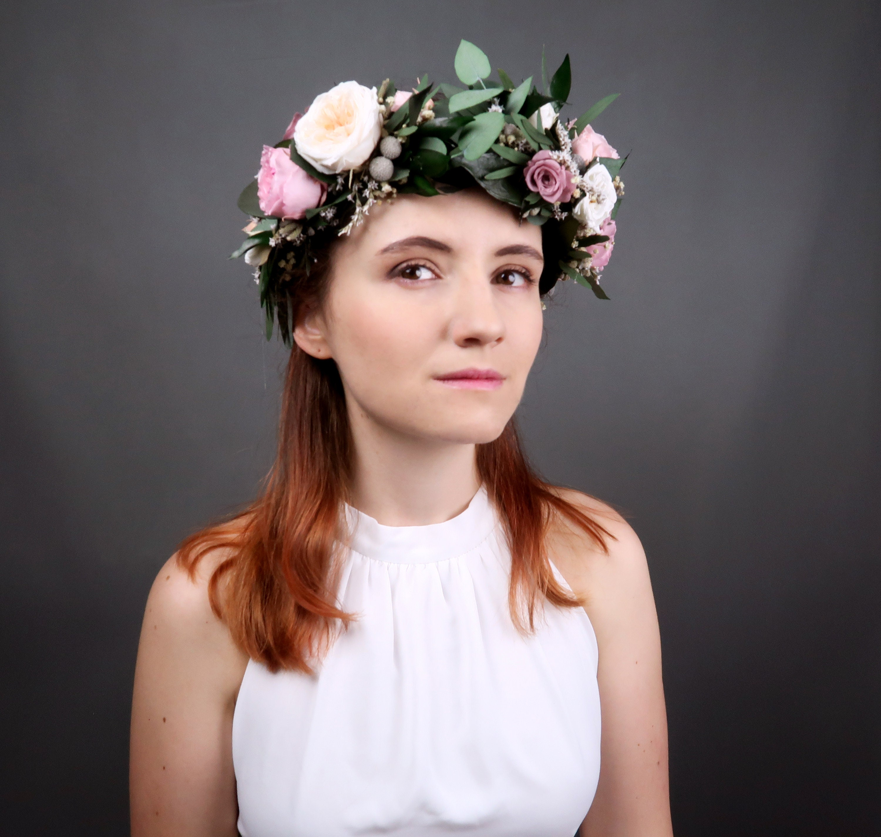 Bridal wedding floral crown with real preserved flowers and greenery bridal wedding floral crown with real preserved flowers and greenery with dusty pink and peach english peony roses izmirmasajfo