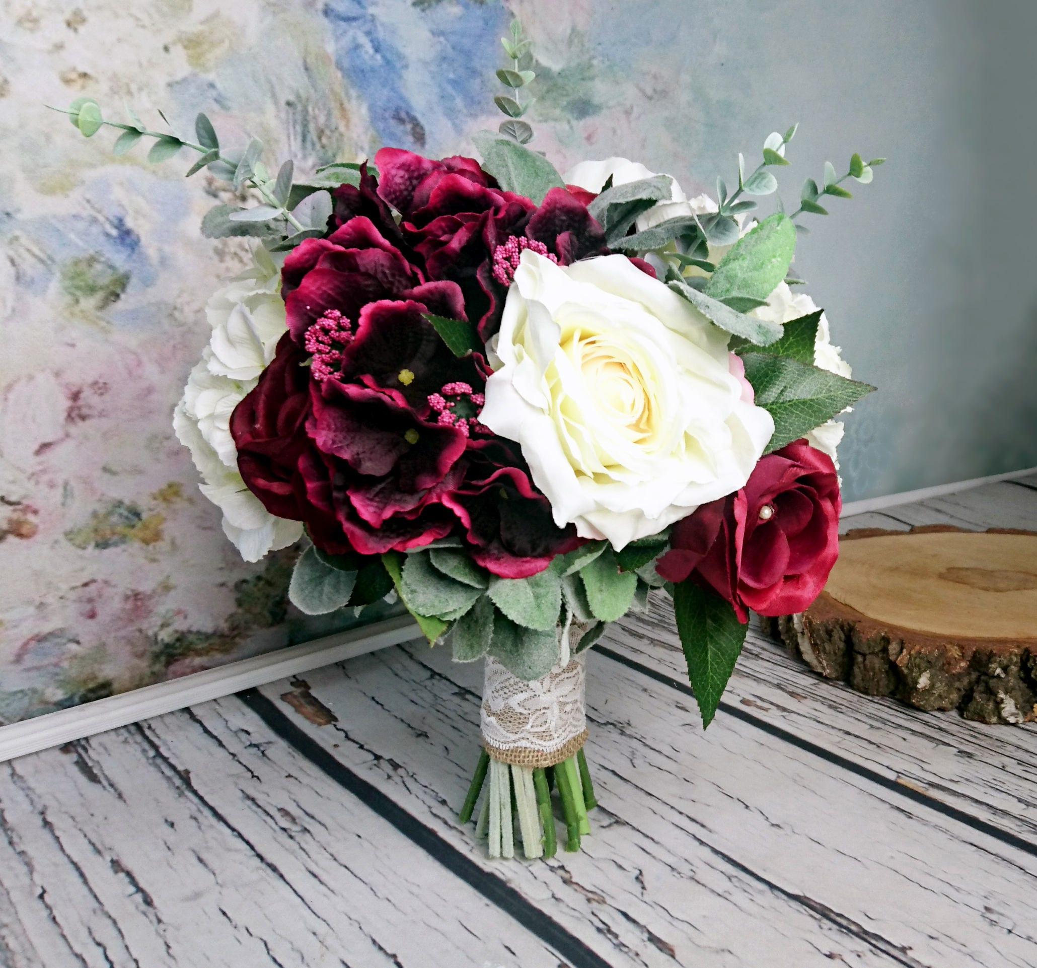 Large Wedding Bouquet Realistic Silk Flowers Burgundy Ivory Dusty