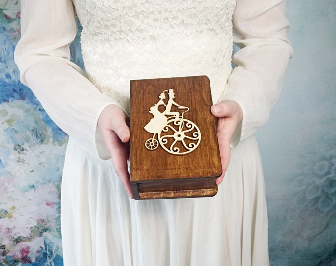 Vintage book shaped Wedding rings box engagement ring box bicycle couple wedding pillow rustic looking old burlap shabby chic custom colors