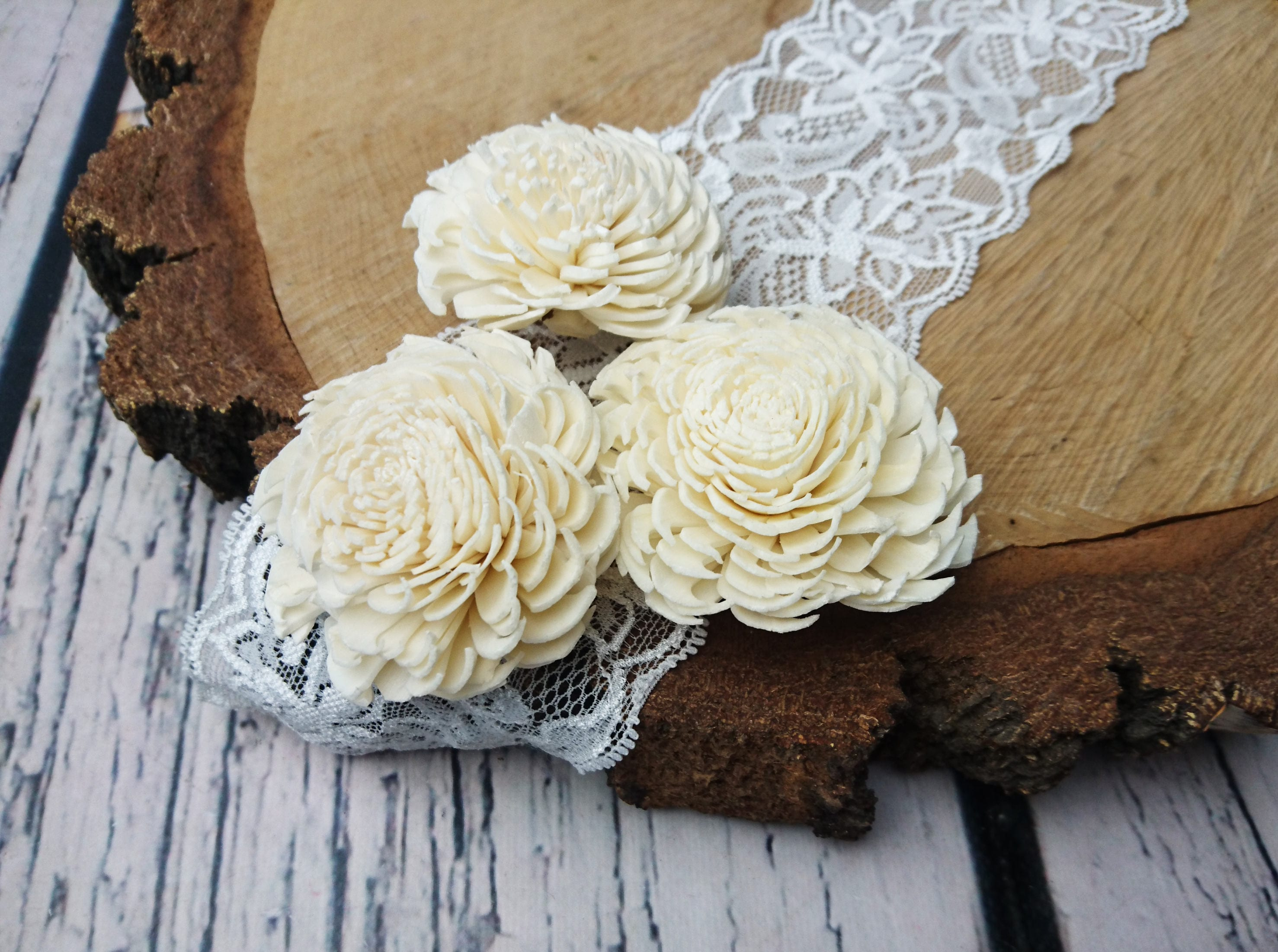 Sola Flowers diy bouquet Wedding decor white ivory chorky shape ...