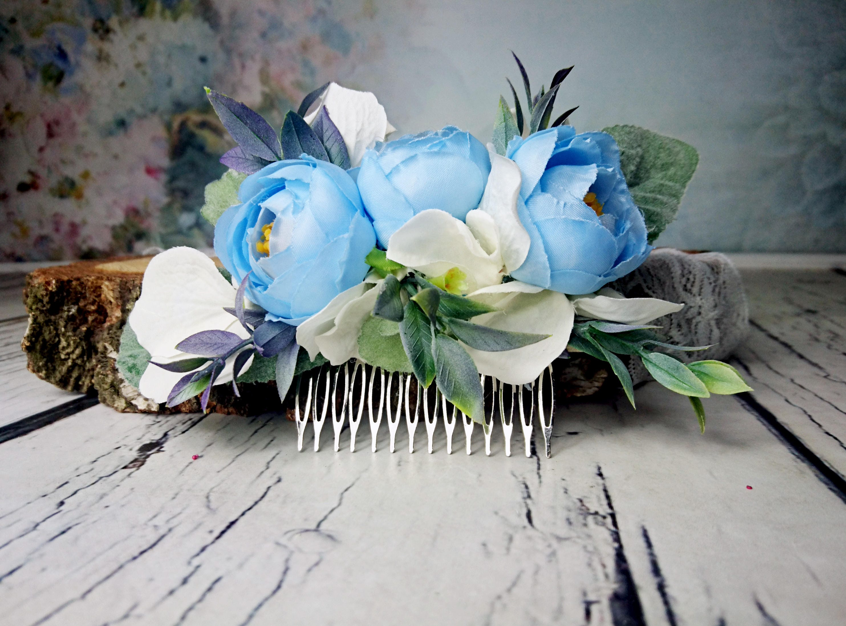 Pastel blue white greenery cold green rustic hair comb silk flowers pastel blue white greenery cold green rustic hair comb silk flowers peony ranunculus hydrangea dusty miller hair piece bridal accessory izmirmasajfo