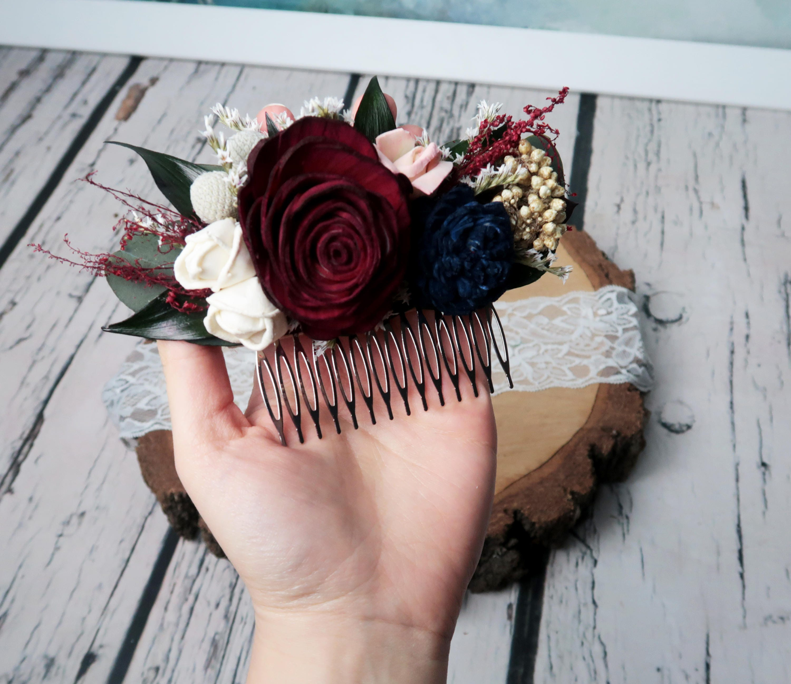 Burgundy rose bridal hair comb blush pink navy blue ivory sola gallery photo gallery photo gallery photo gallery photo izmirmasajfo