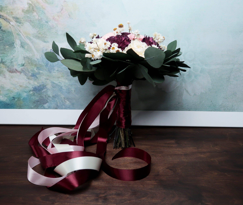 Medium boho wedding bouquet preserved eucalyptus dark Burgundy wine ...