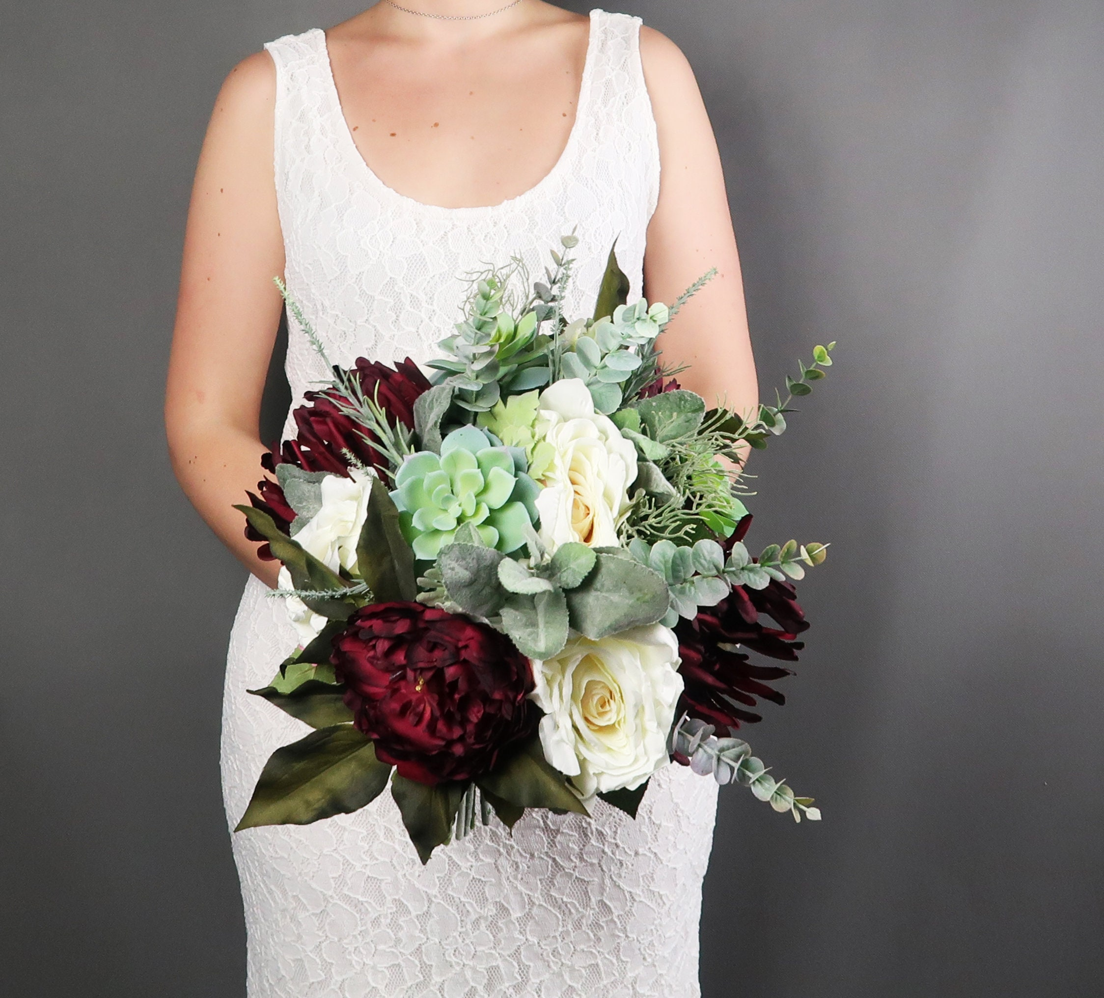 Making A Wedding Bouquet With Silk Flowers: Big Wedding Bouquet, Realistic Silk Flowers In Burgundy