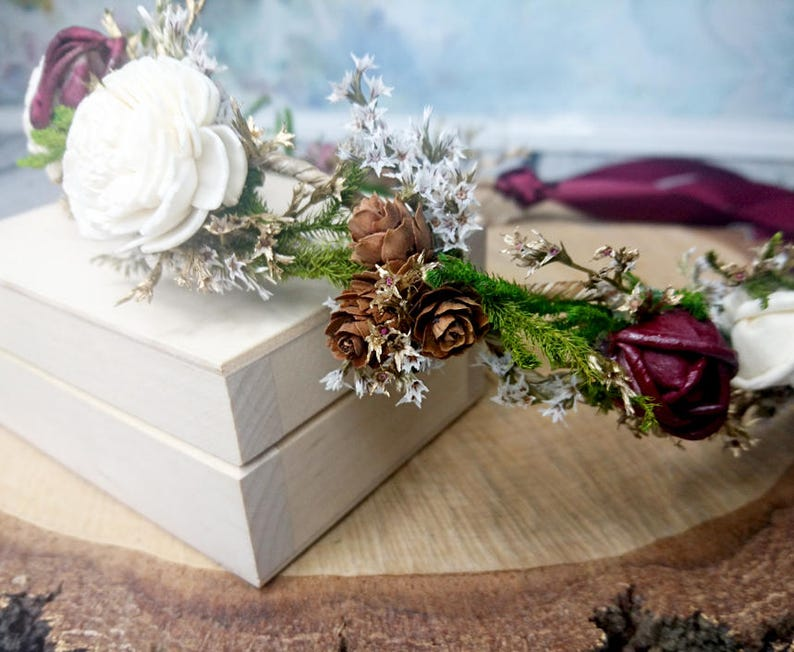rustic fall wedding burgundy green ivory sola flowers Dried flowers floral crown tiny cones