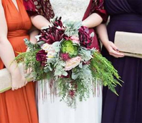 Wilden Tropischen Boho Blumen Hochzeit Blumenstrauss Kaskade Etsy