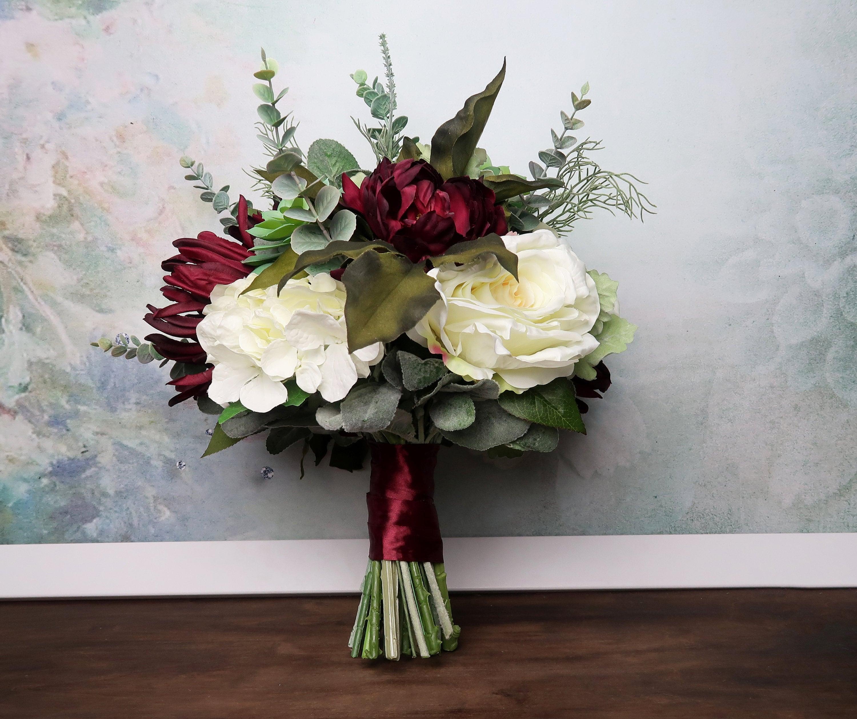 Big Wedding Bouquet Realistic Silk Flowers Burgundy Ivory Green