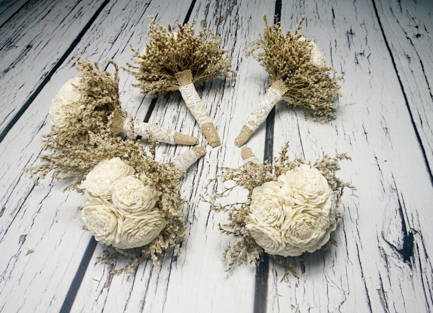 Small ivory rustic wedding set of 5 bouquets sola flowers dried small ivory rustic wedding set of 5 bouquets sola flowers dried limonium burlap lace bridesmaid bouquet simple cheap flowers izmirmasajfo