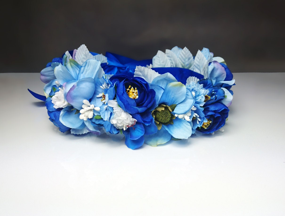 Blue flower crown wreath artificial flowers wedding royal blue blue flower crown wreath artificial flowers wedding royal blue fresh trendy satin ribbon flower girl bride delicate romantic boho natural izmirmasajfo