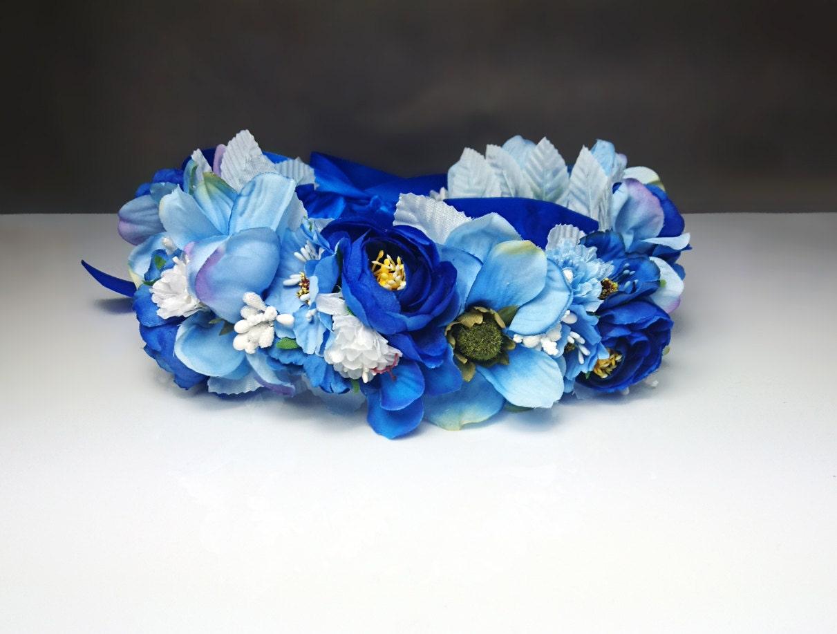 Blue flower crown wreath artificial flowers wedding royal blue blue flower crown wreath artificial flowers wedding royal blue fresh trendy satin ribbon flower girl bride delicate romantic boho natural mightylinksfo