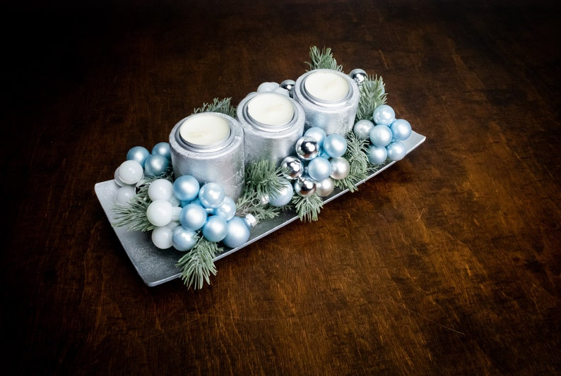 Enjoyable Silver And Blue Winter Wedding Table Centerpiece With Candles Christmas Dinner Decoration Artificial Fir Glass Ornaments Floral Decor Home Interior And Landscaping Mentranervesignezvosmurscom