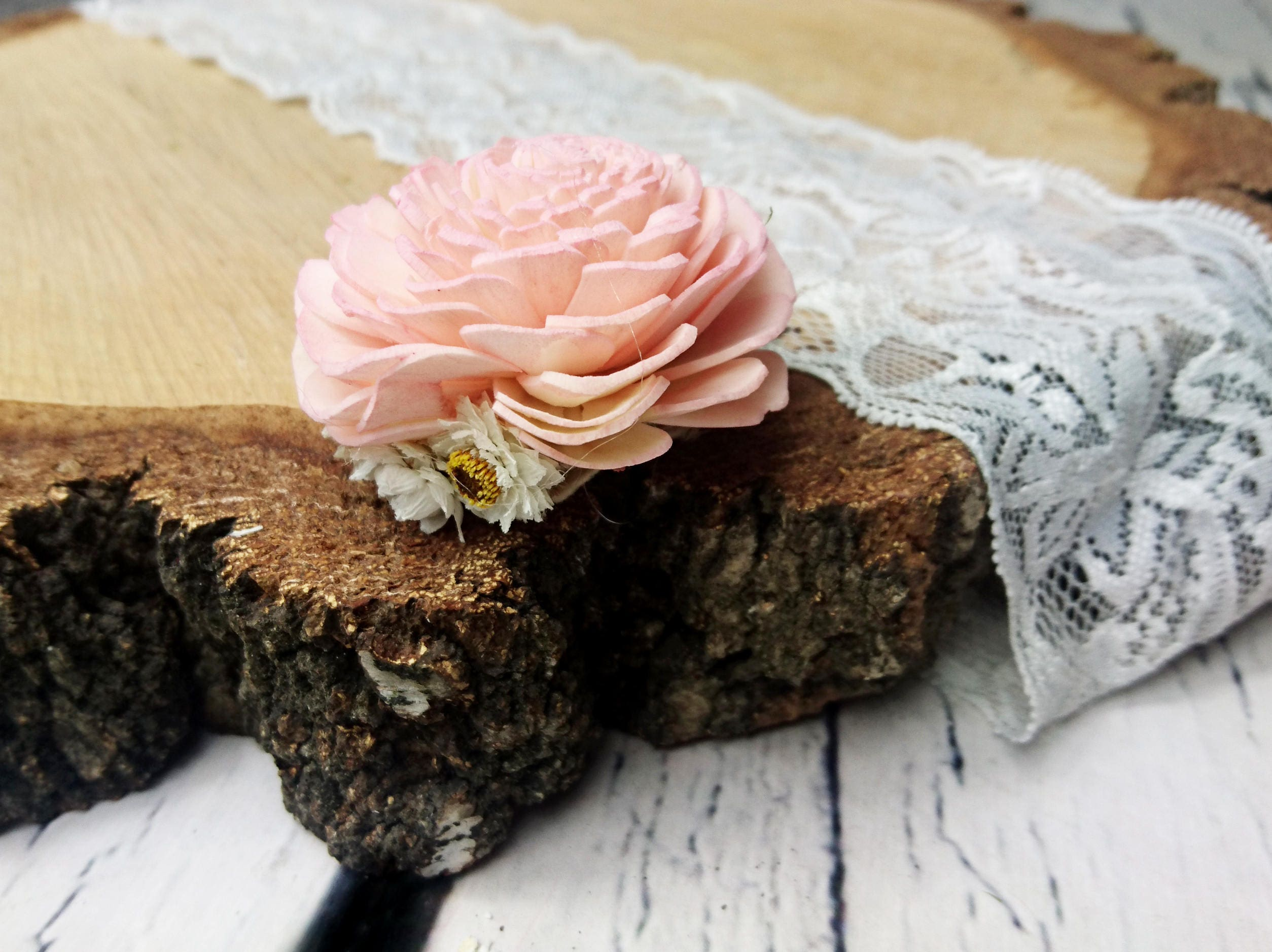 Blush Pink Sola Flower Hair Clip Pin White Dried Flowers Rustic