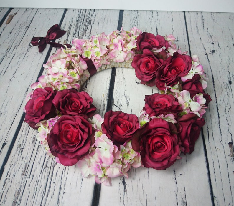 Wedding floral wreath centerpiece hanging backdrop arrangement vintage fall burgundy marsala blush pink roses decor romantic home decor