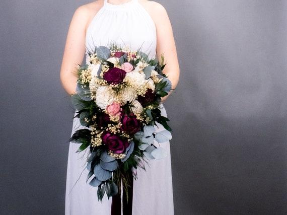 73 cm avec deux fleurs tiges-soie fleurs Freesie rouge Foncé Longueur env