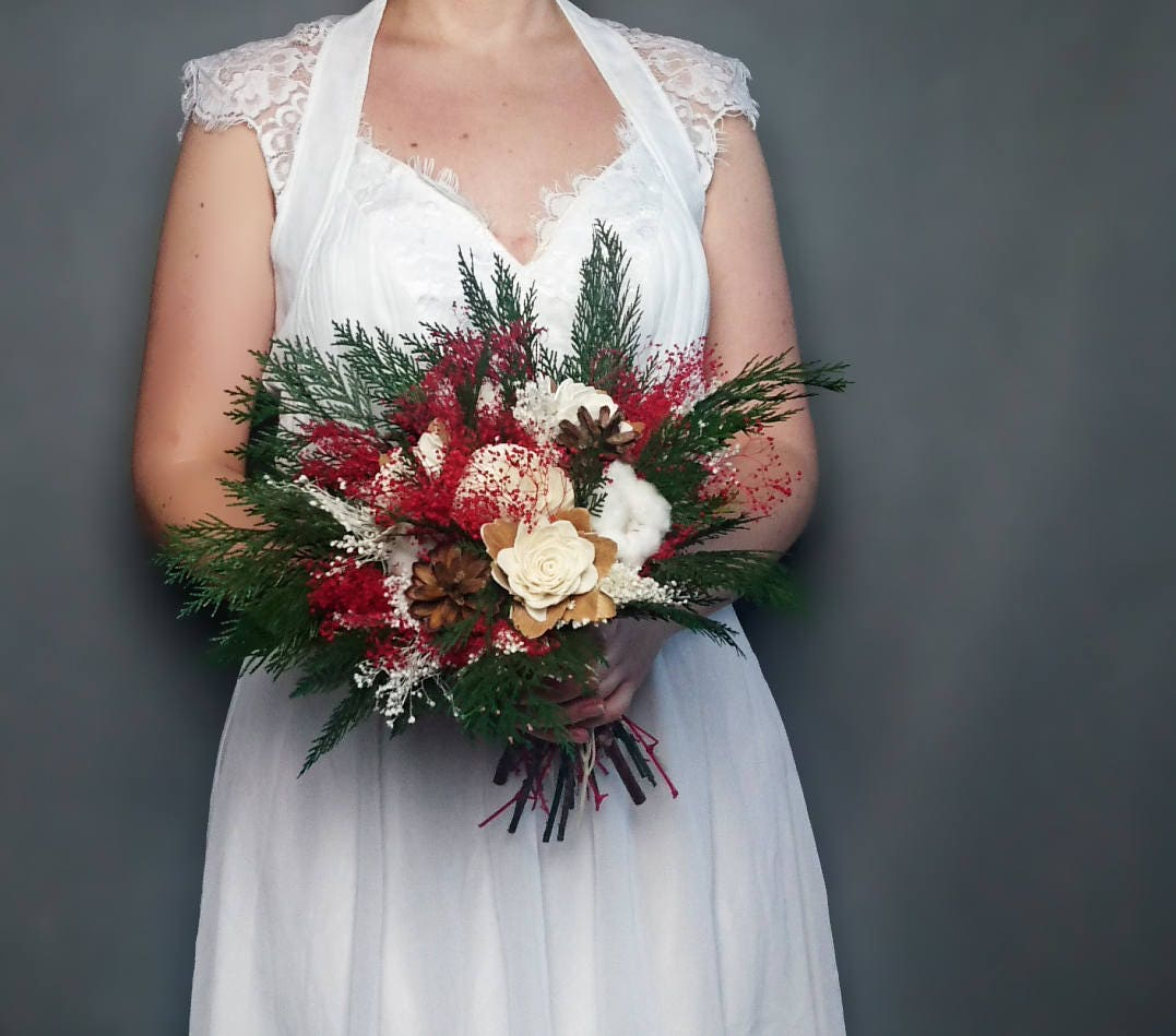 Winter Wedding Bouquet Pine Cones Cotton Bolls Preserved Thuja Red