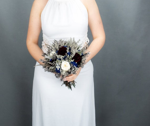Burgundy White Blue And Gray Wedding Bouquet Real Preserved Etsy