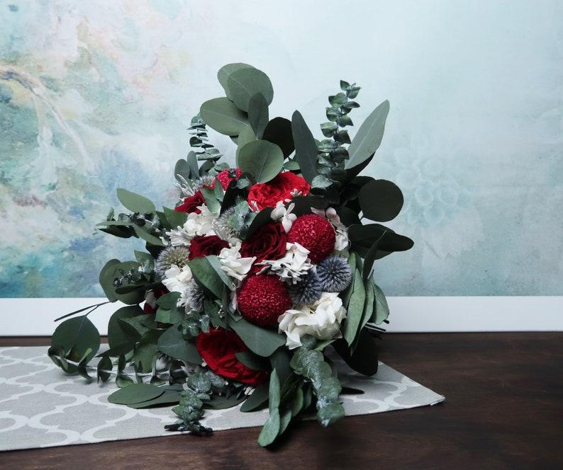 realistic boho southwestern wedding burgundy white greenery real preserved flower thistle rose eucalyptus Deep red wedding bridal bouquet