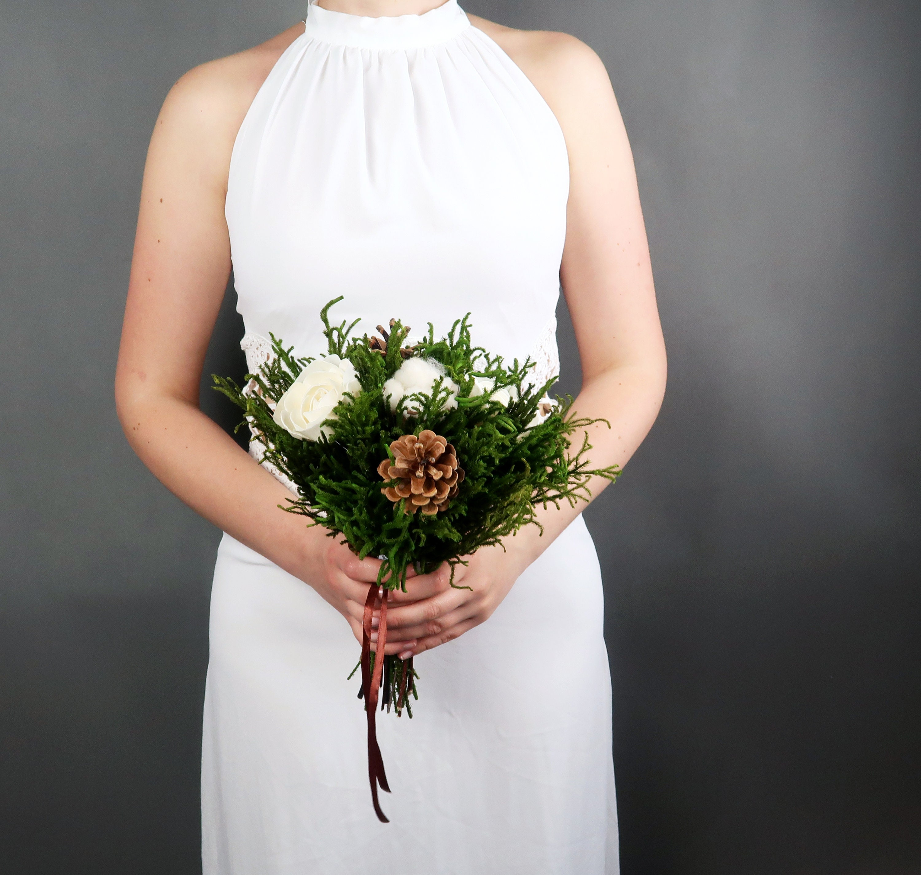 Small ivory white green brown rustic woodland wedding BOUQUET Sola ...