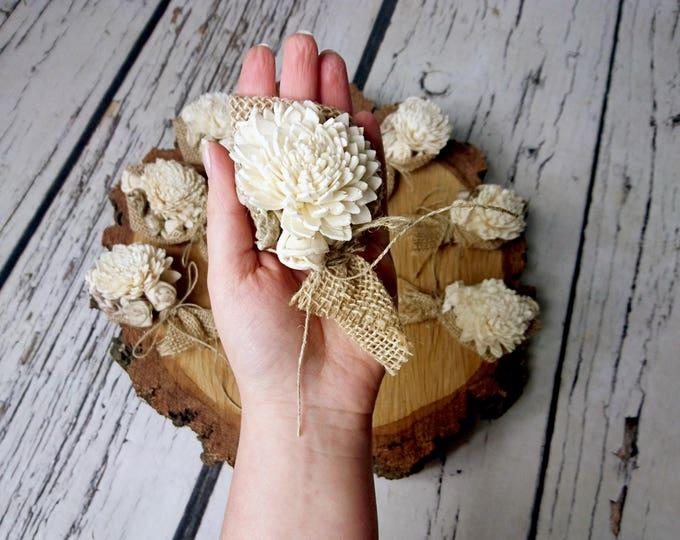 Cream rustic wedding Rustic CORSAGE mother of bride of groom boutonniere, Sola Flower, Wedding Flowers custom