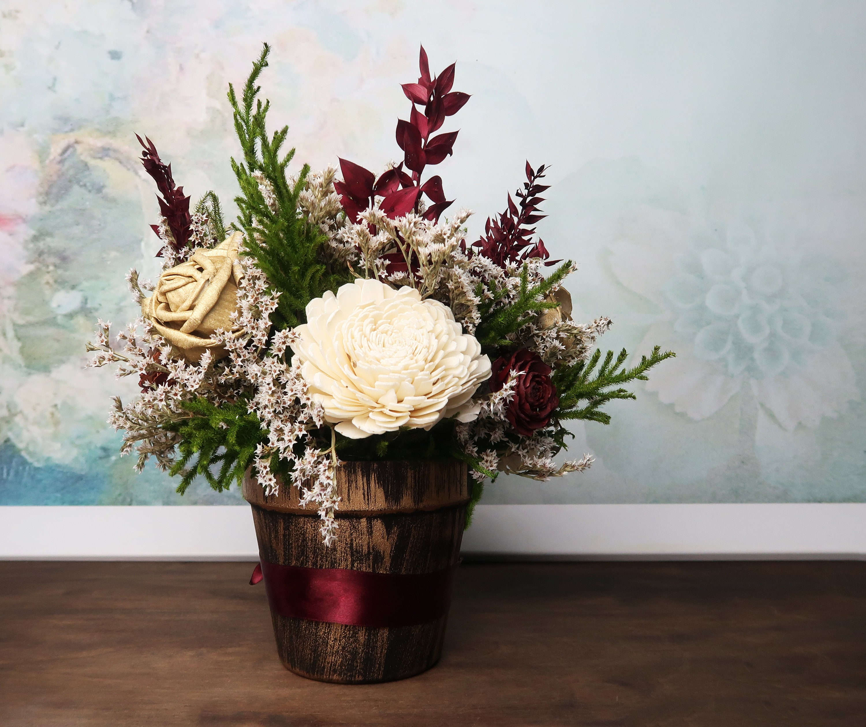 Burgundy, Green And Gold Rustic Wedding Centerpiece Made