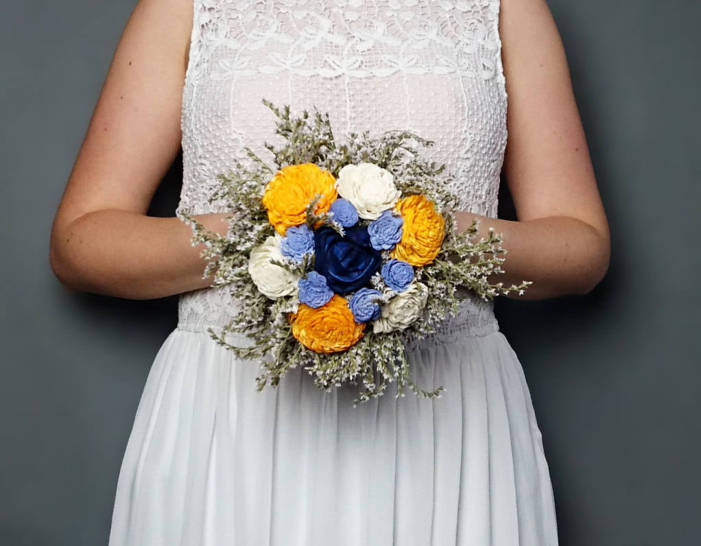 Sunny yellow navy blue and ivory sola flowers wedding BOUQUET dried ...