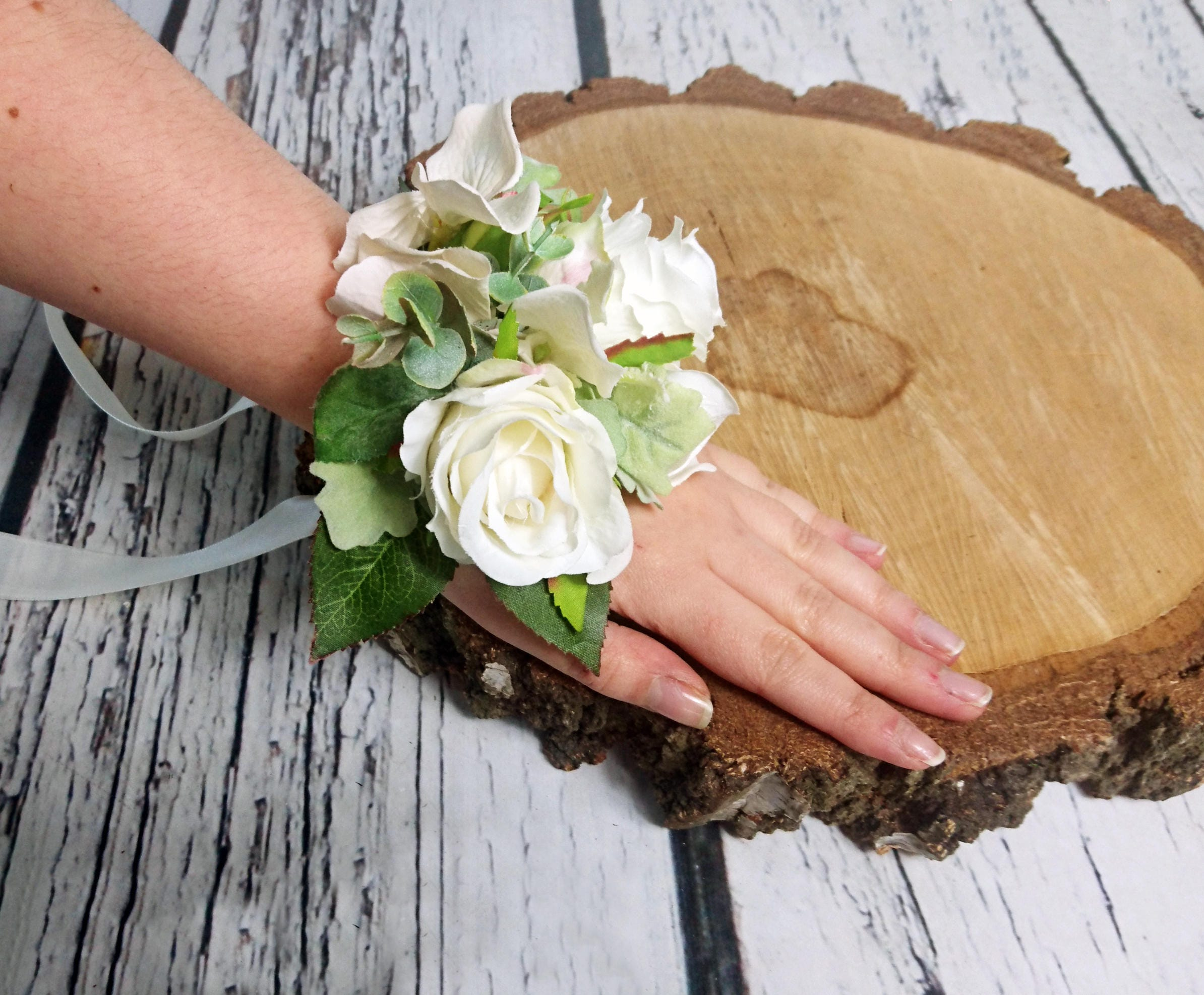Wedding Wrist Corsage Realistic Silk Flowers Roses Dusty Miller