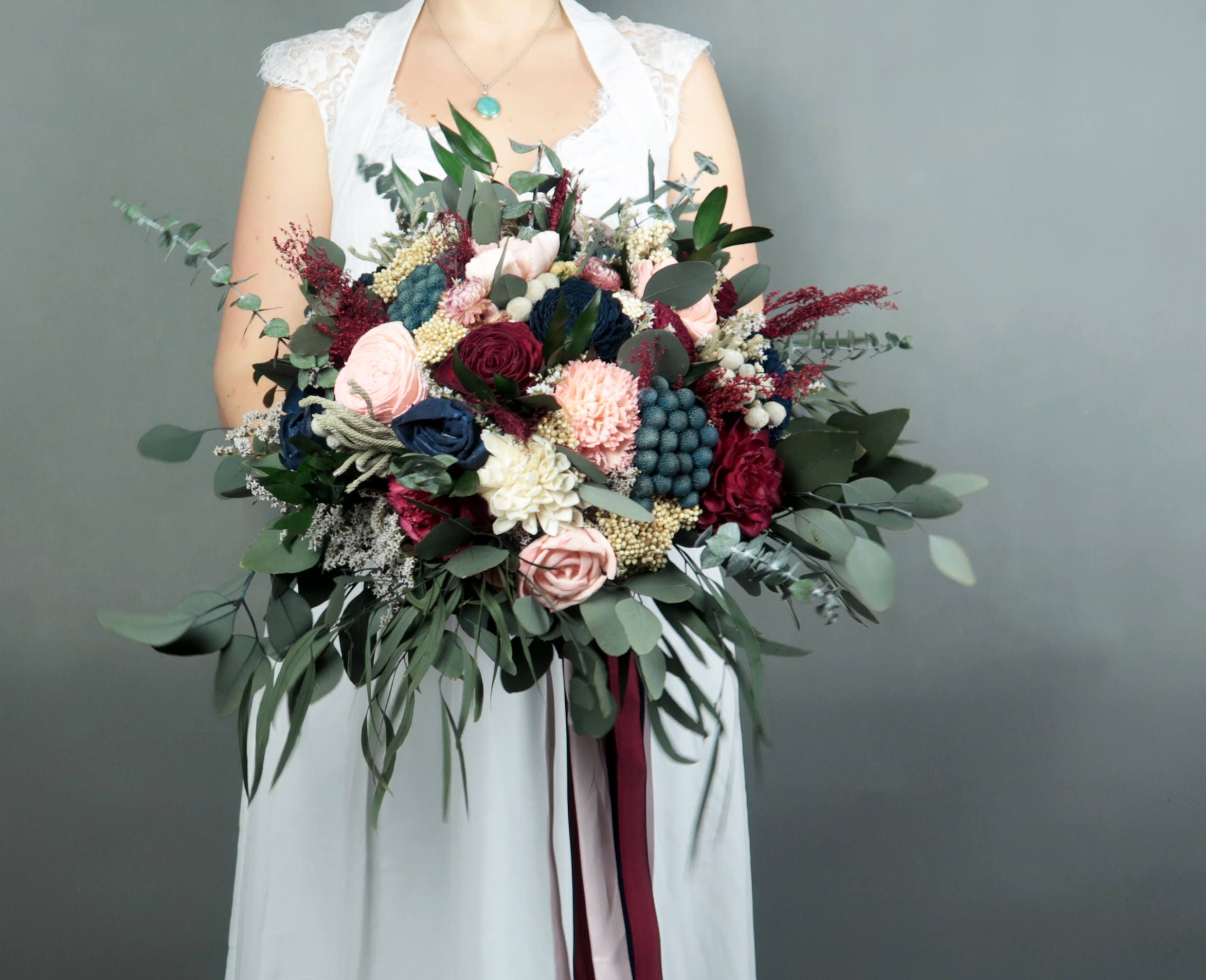 Boho Wedding Bouquet In Shades Of Wine Blush Pink And Navy With