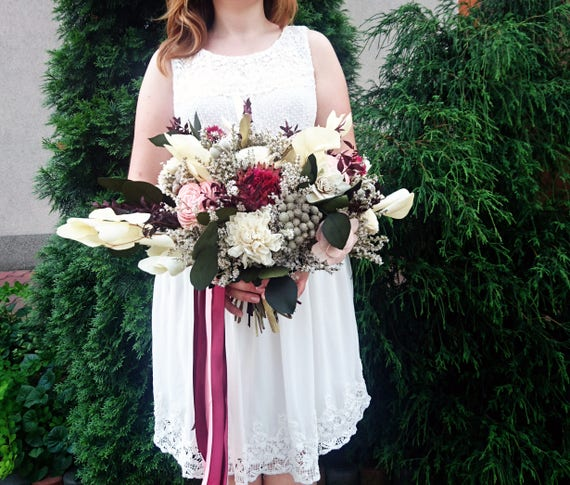 Wine Gles For Wedding | Burgundy Wine And Blush Boho Wedding Bouquet With Tropical Etsy