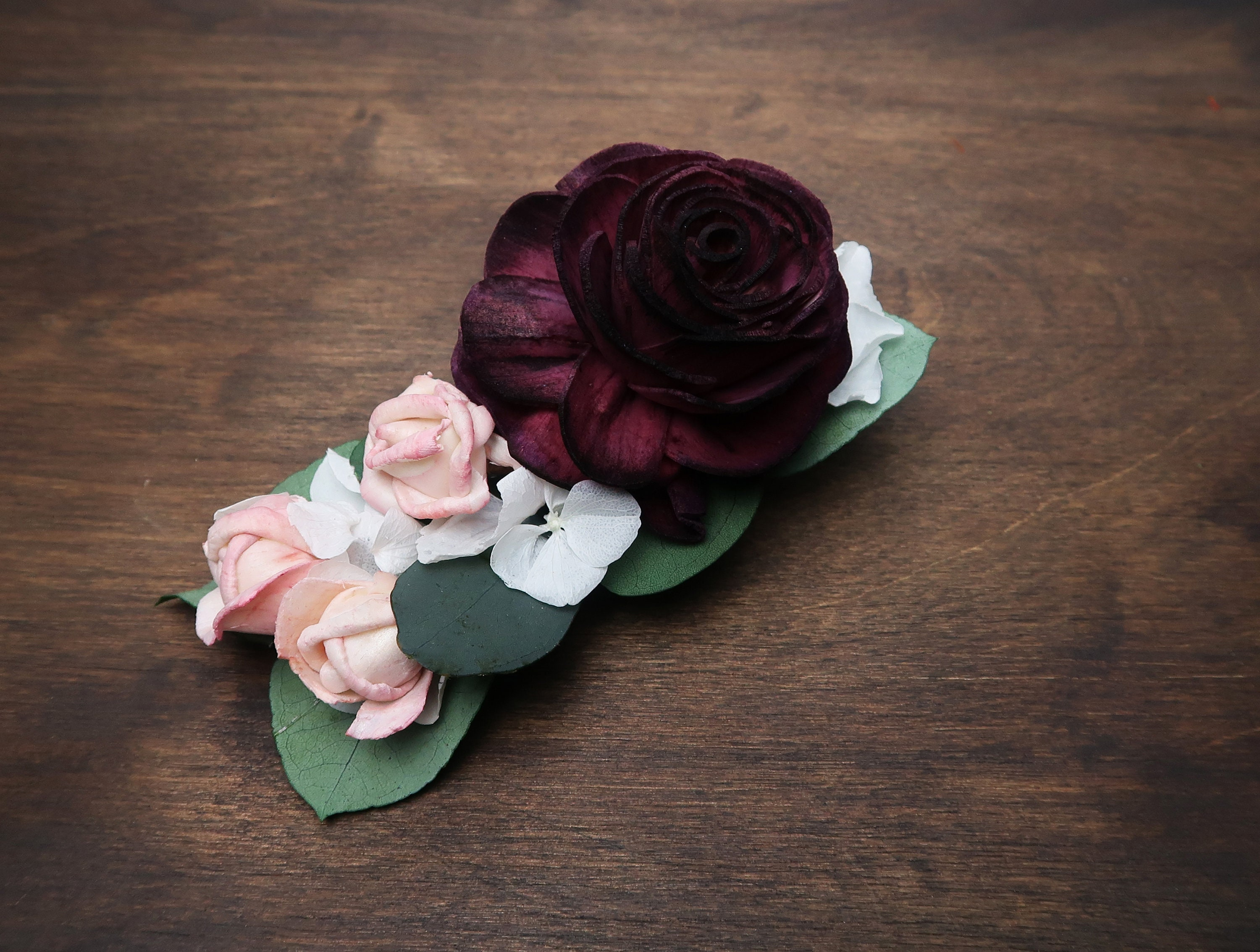 Floral Hair Clip Burgundy Wine Rose Preserved White Hydrangea Small