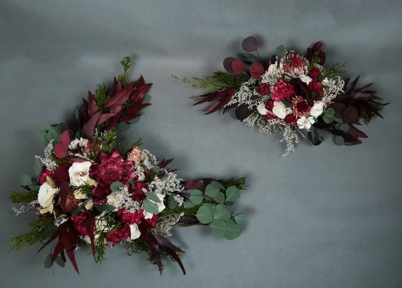 Wedding arch flowers arrangement boho style sola flowers image 0