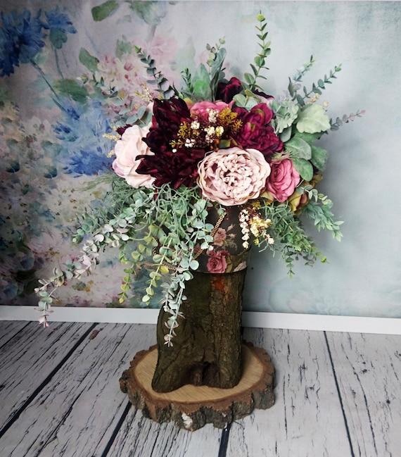 Vintage Stil Blumenschmuck Boho Hochzeit Bordeaux Erroten Rosa Etsy