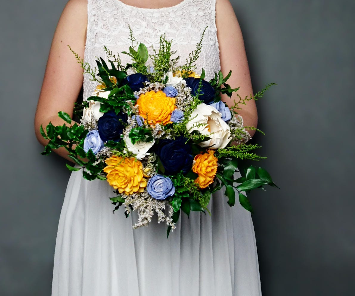 Sunny Yellow Navy Blue And Vibrant Green Wedding Bouquet Preserved