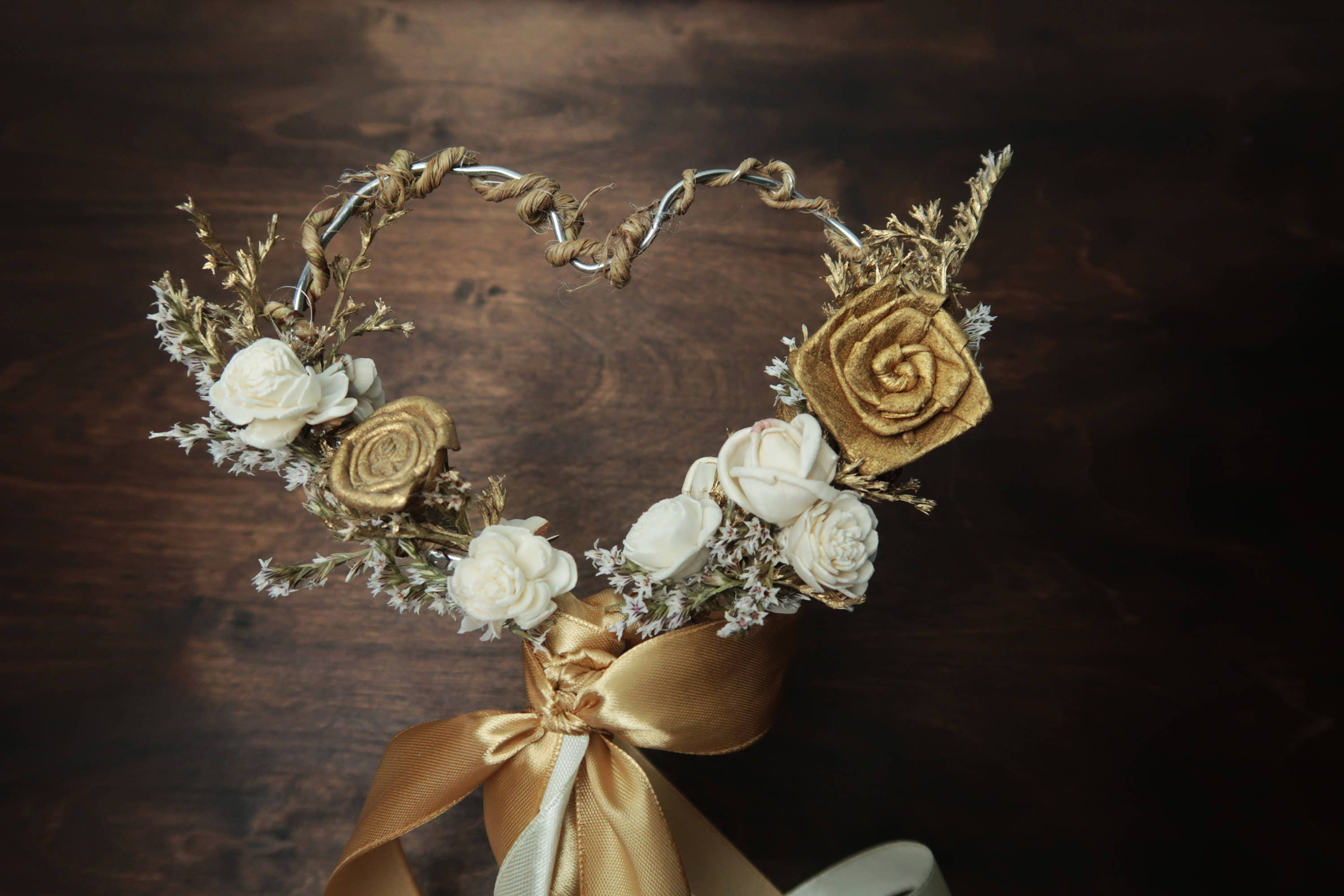 Gold ivory heart shaped flower girl wand elegant wedding bouquet ...